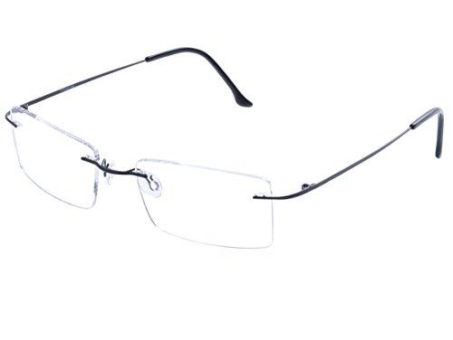 DEDING Titan randlose Brille Brillenfassung (Schwarz)