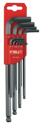 INBUS® 70242 set chiavi a brugola / serie a testa sferica metrico 9pz. 1,5-10mm | Made in Germany | chiavi ad esagono incassato | chiave ad angolo | 1,5mm | 2 mm | 2,5mm | 3mm | 4 mm | 5mm | 6 mm | 8mm | 10mm