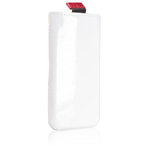 GlüxKind Darwin Echtledertasche Handytasche für iPhone 6 / iPhone 6S, Handyhülle aus Echtleder Krokodilleder - Case Slip-In Sleeve Tasche Lederhülle Etui, Hülle Echt Ledertasche echt Leder Hülle Case  Weiß Rot