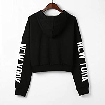 Xmiral Women Sweatshirt Letters Long Sleeve Hoodie Women Fashion Polyester Pullover Tops Blouse (S,black) 2