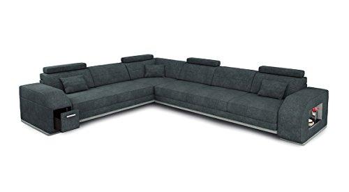 Sofa L-Form Stoff Textil grau Ecksofa Wohnlandschaft Eckcouch Couch Designsofa mit LED-Licht Beleuchtung FRANKFURT II