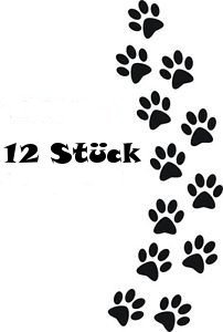 12 Hundepfoten Aufkleber Größe und Farbe frei wählbar (Schwarz, 5cm x 5cm)