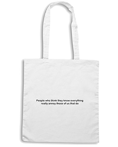 T-Shirtshock - Borsa Shopping TDM00209 people who think they know everything Bianco