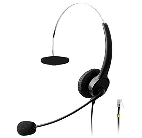Wantek RJ Headset Wired with Flexible Noise Canceling Mic for Snom Panasonic KX-T Series Avaya Cisco Grandstream Yealink Altigen Cortelco Huawei Office IP Phones(510P1D)