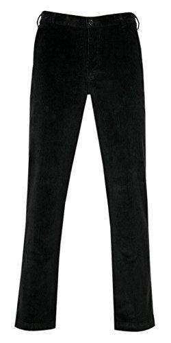 PAPADAY Herren Stretch Cordhose, Flatfronthose aus Baumwoll-Feincord-Schwarz-54