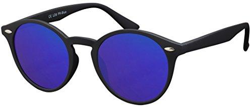 La Optica Verspiegelte UV 400 Runde Damen Herren Retro Sonnenbrille - Einzelpack Rubber Schwarz (Polarisierte Gläser: Blau verspiegelt)