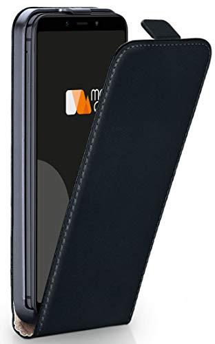 moex® Flip Case mit Magnetverschluss [Rundum-Schutz] passend für Xiaomi Mi A2   360° Handycover aus feinem Premium Kunst-Leder, Schwarz Flip Leder Hard Case