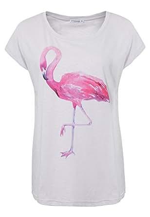 Stitch & Soul Damen T-Shirt mit Flamingo-Print & legerem Schnitt | Bequemes Basic Shirt mit Aufdruck