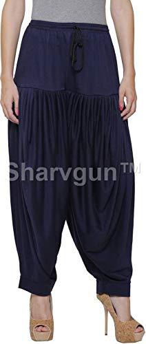 Sharvgun Damen Punjabi Patiala Salwar Viskose Lycra Baggy Hose Free Size Dhoti Pant Volltonfarben Salwar Hose