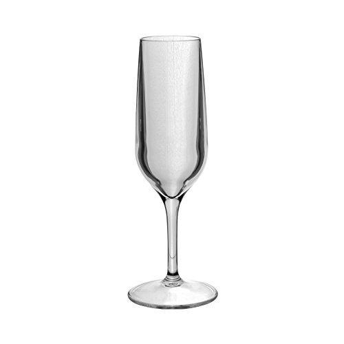 Roltex Lot de 6 verres droits incassables et réutilisables Tao SUPER DELUXE en plastique robuste (Transparent) 152gm à pied long flûtes à Champagne 19 cl Pilsener Volume Max Diamètre: 62 mm, hauteur: 210 mm