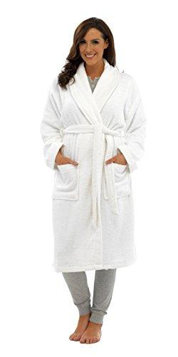 Damen-Bademantel, 100% reine Baumwolle, Luxus-Frottee-Bademantel mit Gürtel und Taschen, Nachtwäsche für Damen und Mädchen Gr. L, weiß -
