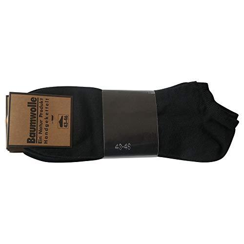 8 Paar 100 % Baumwolle Sneaker Socken Füsslinge ohne Naht Schwarz bis Größe 58 (43-46)