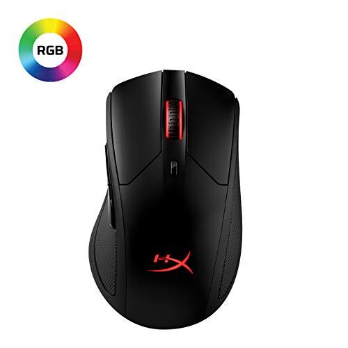 HyperX HX-MC006B Pulsefire Dart - Kabellose RGB Gaming Maus, Softwaregesteuerte Anpassung, 6 Programmierbare Knöpfe, Qi-Charging Batterie bis zu 50 Stunden - PC, PS4, Xbox One kompatibel