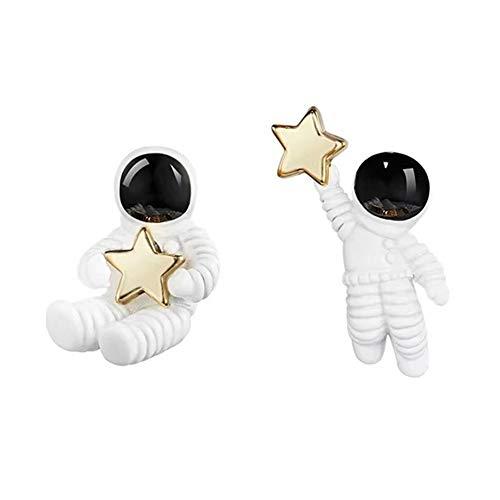 Ohrstecker 18 Karat vergoldet 3D unregelmäßige weiße Astronauten Spaceman Golden Star Charm Stecker Stecker (Gold Baby-mädchen Charms)