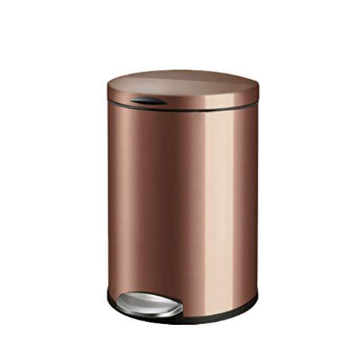 Zlw-shop Secchi per la spazzatura Pedal Large Stainless Steel Trash Can Home Soggiorno Cucina Camera da Letto Bagno Rotondo Cestino 5L 9L 12L (Color : Brown, Dimensione : S-5L)