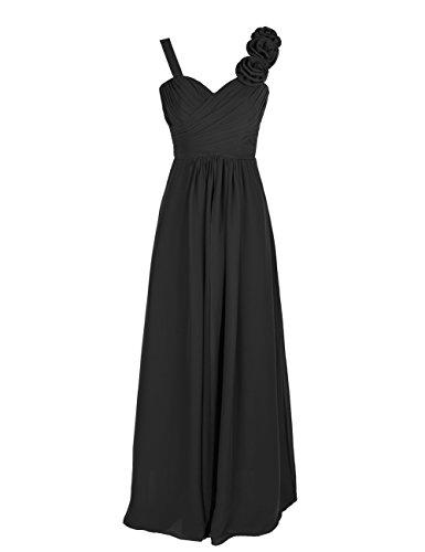 Dresstells, Robe de soirée/cérémonie/demoiselle d'honneur col en cœur bretelles classiques une ligne avec fleurs Noir