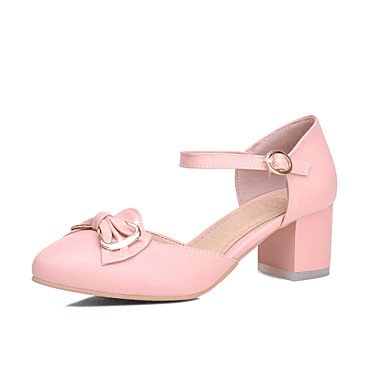 Zormey Damen Sandalen Sommer Herbst Comfort Ankle Strap Pu-Büro & Amp; Karriere Dress Casual Ferse Bowknot Schnalle Rot Rosa Blau Beige US8 / EU39 / UK6 / CN39