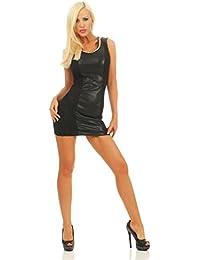 Fashion4Young 5664 ärmelloses Minikleid im Etui-Look Kleid dress Sommerkleid Partykleid Schwarz