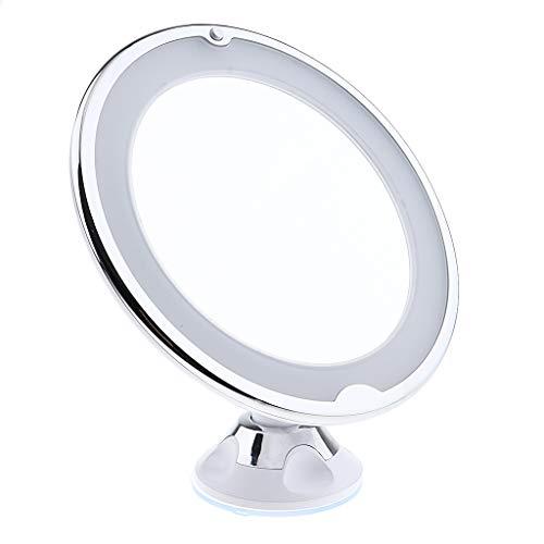 Fenteer Kosmetikspiegel LED mit Licht, 7X Vergrößerung mit Saugnapf, 360° Schwenkbar, Make-Up Schminkspiegel Beleuchtet mit Blendfreier Beleuchtung -