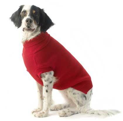 Ärmel Bett Jacke (Hund Jumper-traditionelle Pullover für Hunde in Rot. Klassische Rollkragen (Rollkragen) Pullover Vorderbein Ärmel. Größe klein 25,4cm-33cm/25-. 33cm Ideal für kleine Terrier große Hunde.)