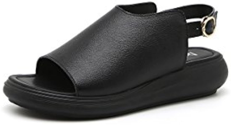 1a50e34beb66af DANDANJIE Women s Sandals Leather Sandals Ladies Ladies Ladies Flat Heel  2018 Summer Outdoor Sports Sandals (