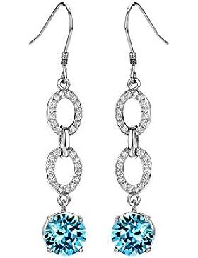 NEOGLORY Swarovski Elements Ohrringe mit Kristall Hängend Blau