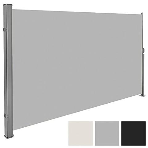 TecTake Auvent store latéral brise-vue abri soleil aluminium rétractable - diverses couleurs et tailles au choix - (Gris | 180x300cm | no. 401527)