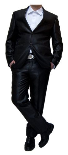Designer Anzug Herren leicht glänzend tailliert Schwarz Herrenanzug Sakko mit Hose Größe 54 XL (Leichte Anzüge Herren)