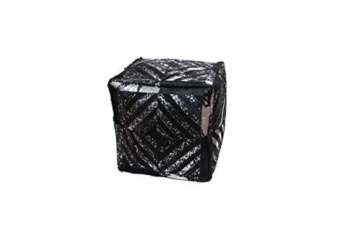 Hocker Sitz-Würfel Patschwork Design Spark Pouf 400 Bean Bag Rauten Muster Leder 45x45 cm Schwarz/Sitzsack günstig online kaufen -