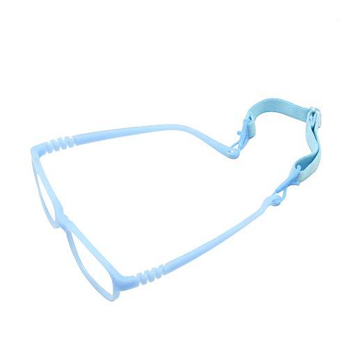 EnzoDate Boy Brillengestell mit Gurt Größe 43/16 einteilige No Schraube Safe, Kinder Brille, biegsame Mädchen Flexible Brillen (blau)