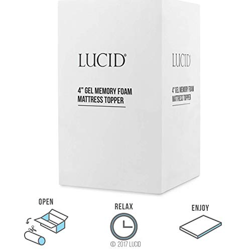 LUCID 4 Inch Gel Memory Foam Mattress Topper - Ventilated for Optimum Temperature -Twin Image 6
