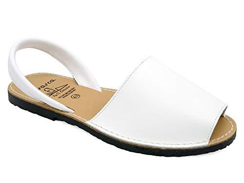 Avarca - Made In Spain - Herren Echtleder Menorca Ibiza Sandalen - schöne, Bequeme und praktische Leder Sommerschuhe Strandschuhe Hausschuhe 201C weiß Gr. 39 (schmal)