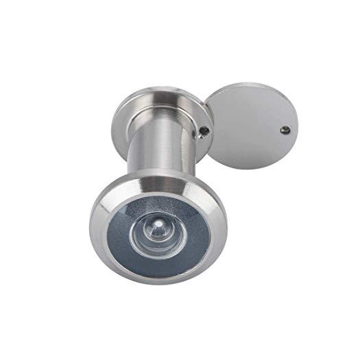Türspion mit Sichtschutz | Echtglaslinse | 14 mm Bohrloch | Weitwinkel 200° | Farbe: Edelstahl satiniert