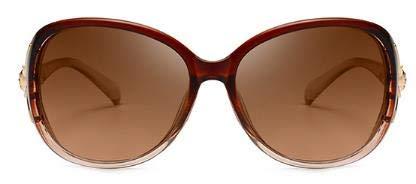 LUXIAOYU Neue Polarisierte Sonnenbrille Weibliche Gezeiten Sonnenbrille Mit Bohrer Fox Kopf Anti-Uv Gm Gläser Geschenk,Brown