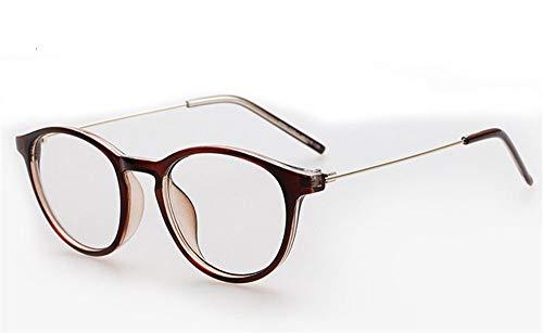 P-WEIAN Brillengestellegestalten retro flache Spiegel HipsterBrillengestell Unisex, braune Box