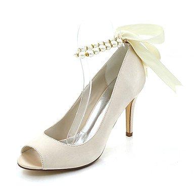 Wuyulunbi@ Scarpe donna raso Primavera Estate della pompa base scarpe matrimonio Stiletto Heel Peep toe imitazione perla per il ricevimento di nozze e la sera. Champagne