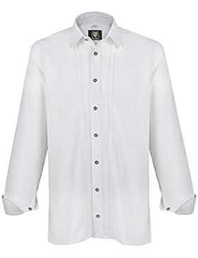 Herren OS-Trachten Trachtenhemd weiß 'Hubi', weiß,