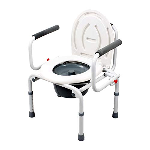 KPL-Kommode Arm Fallen Lassen Nachtkommode Stuhl Deluxe Bariatrischer Toilettensitz für Senioren, Behinderte mit Eimer/Deckel Höhenverstellbar Badezimmer-Unterstützung -