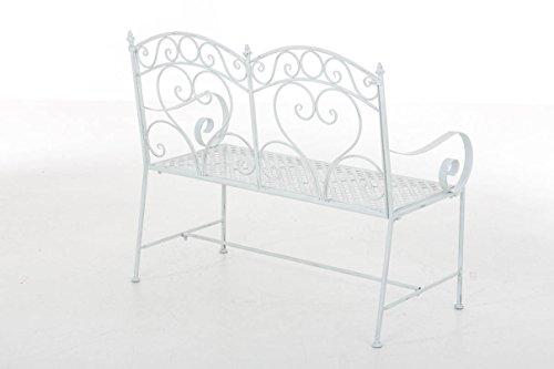 CLP Gartenbank SALIM im Landhausstil, aus lackiertem Eisen, 107 x 50 cm – aus bis zu 6 Farben wählen Antik Weiß - 3