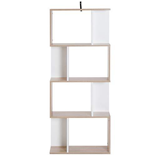 Homcom Bibliothèque étagère Meuble de Rangement Design Contemporain en S 4 étagères 60L x 24l x 148H cm Coloris chêne Blanc