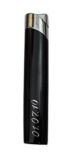 GravUp: Schmales Gas-Feuerzeug (schwarz) mit SOFORTGRAVUR + VORSCHAU: Gravur auf der Vorderseite (Gasfeuerzeug nachfüllbar)