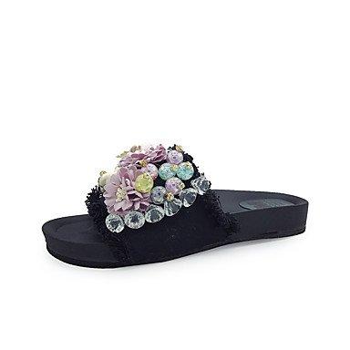 zhENfu donna pantofole & amp; flip-flops sandali Comfort PU Estate outdoor Abbigliamento sportivo a piedi perla Strass fiore HeelWhite piatto nero Black