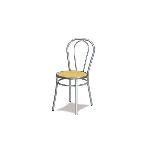 Sedia thonet metallo grigio alluminio seduta paglia di vienna - sedie per cucina