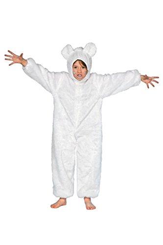 -Bär Kinder weiß Voll-Plüsch mit Reißverschluss 140 (Voller Bär Kostüm)