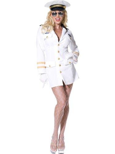 Karneval Damen Kostüm Top Gun Kleid sexy weiß Pilotin Größe XS - Top Gun Kleid Kostüm
