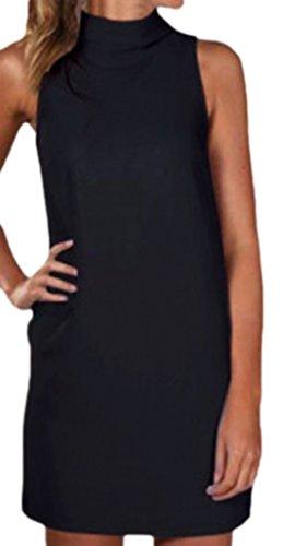 erdbeerloft - Damen Casual O- Neck Mini Kleid, 34-40, Viele Farben Schwarz