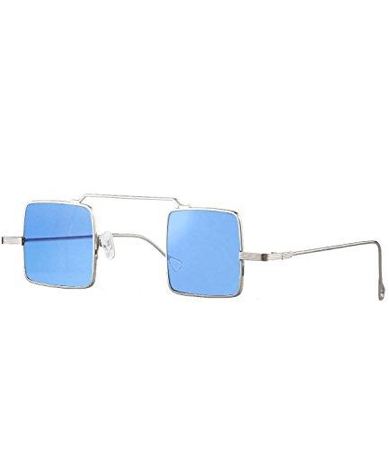 Caripe 70er Lennon Retro Vintage Sonnenbrille Damen Herren quadratisch rund verspiegelt - kvadra5 (silber - blau getönt)