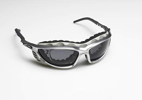 Zekko Sport - Ski - Sonnen Brille mit anpassbaren Bügeln und Nasenpads! Inkl. Augenschutzaufsatz gegen Wind und Kälte, leicht entfernbar und Waschbar. Unisex - Silber