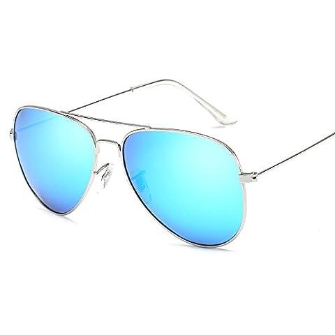 Pingenaneer Lunettes de Soleil - Armature en Métal Aviator 100% UV Protection Unisexe Lunettes,Argent + Bleu blanc