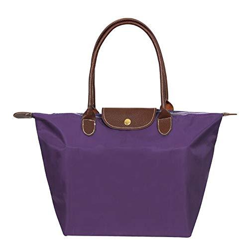EXQULEG Tragetasche, Schultertaschen Damen Wasserdichte Handtaschen aus Nylon Umhaengetasche Strand Tasche (Large, Violett)